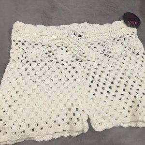 Hot Miami Styles Tops - Off White Crochet Halter Shorts Two Piece Set